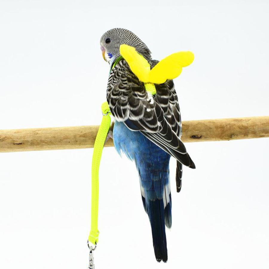 ペットリーシュオウム鳥調節可能なハーネス飛行訓練ロープ黄色7mm 買物 メーカー直送