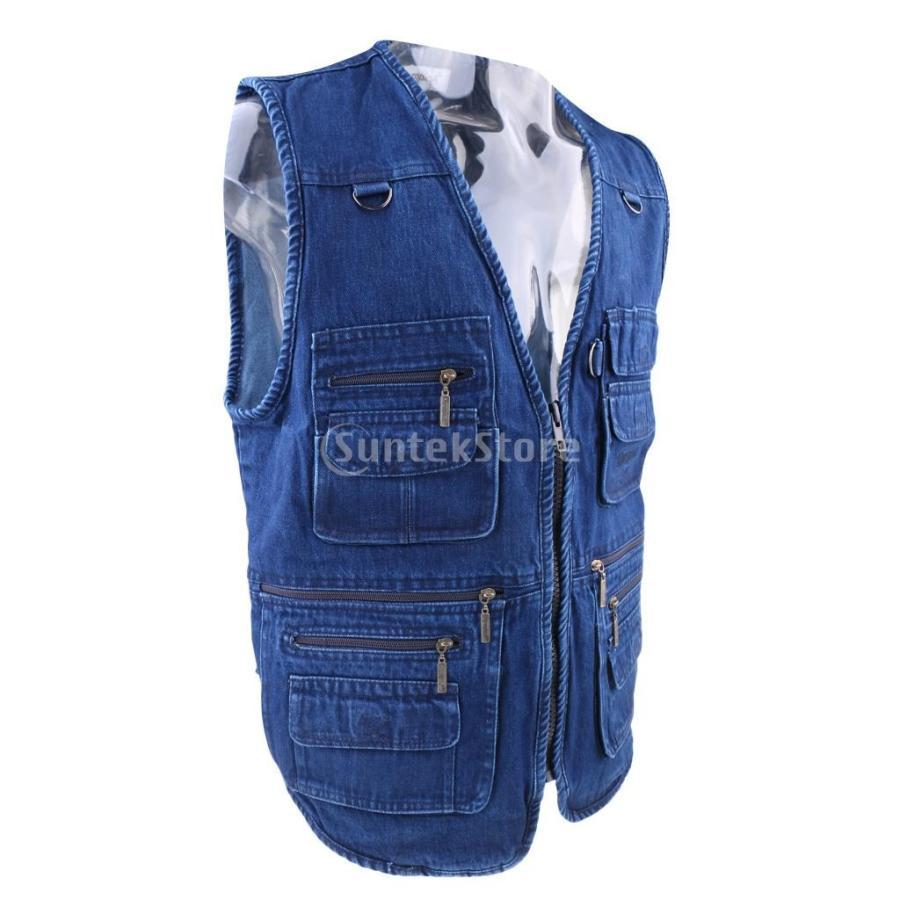 デニムベスト ジャケット マルチポケット 軽量 防風 作業用 全5サイズ - 3xl|stk-shop