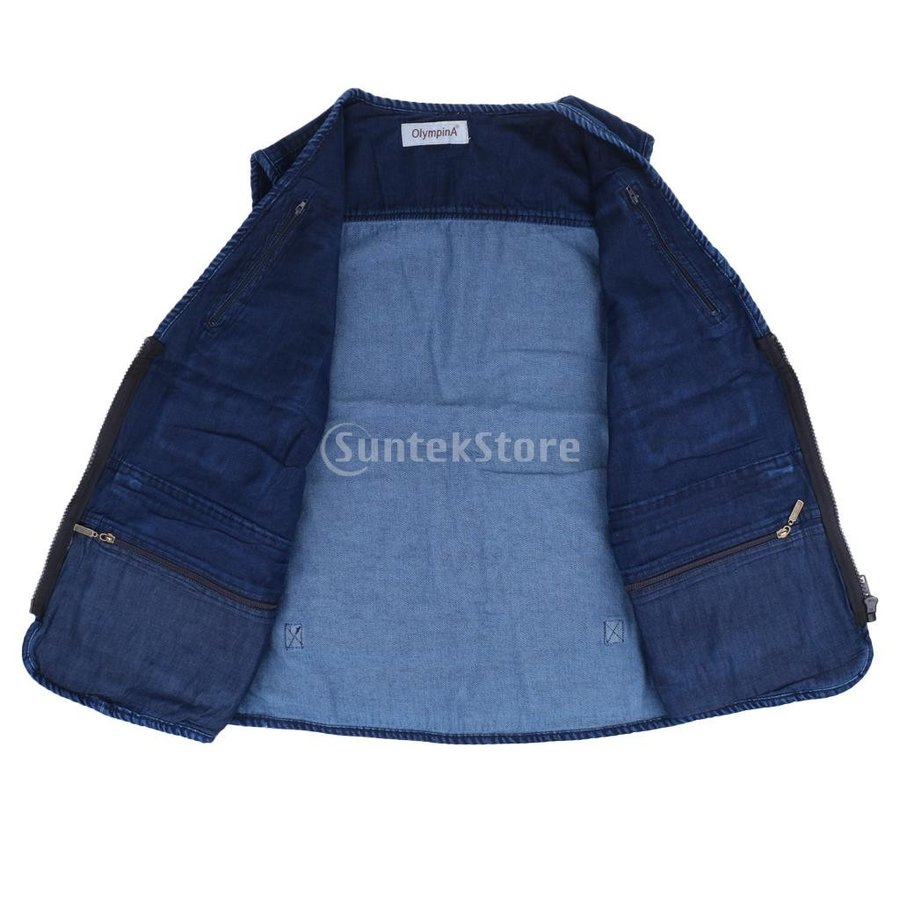 デニムベスト ジャケット マルチポケット 軽量 防風 作業用 全5サイズ - 3xl stk-shop 11