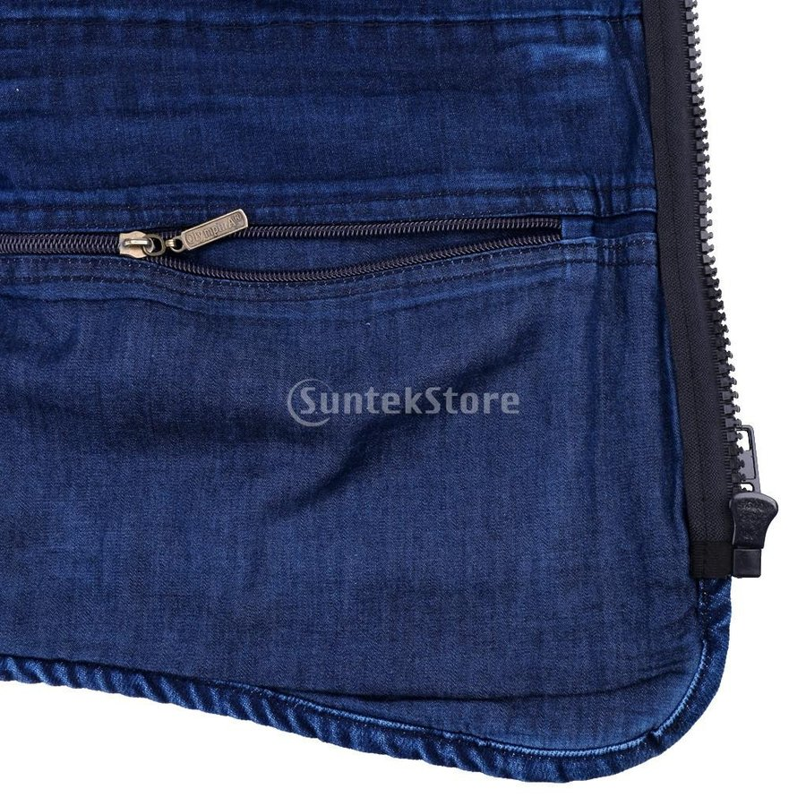 デニムベスト ジャケット マルチポケット 軽量 防風 作業用 全5サイズ - 3xl|stk-shop|03
