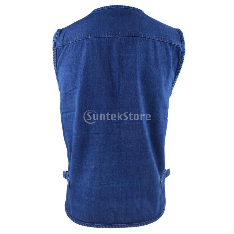 デニムベスト ジャケット マルチポケット 軽量 防風 作業用 全5サイズ - 3xl|stk-shop|04