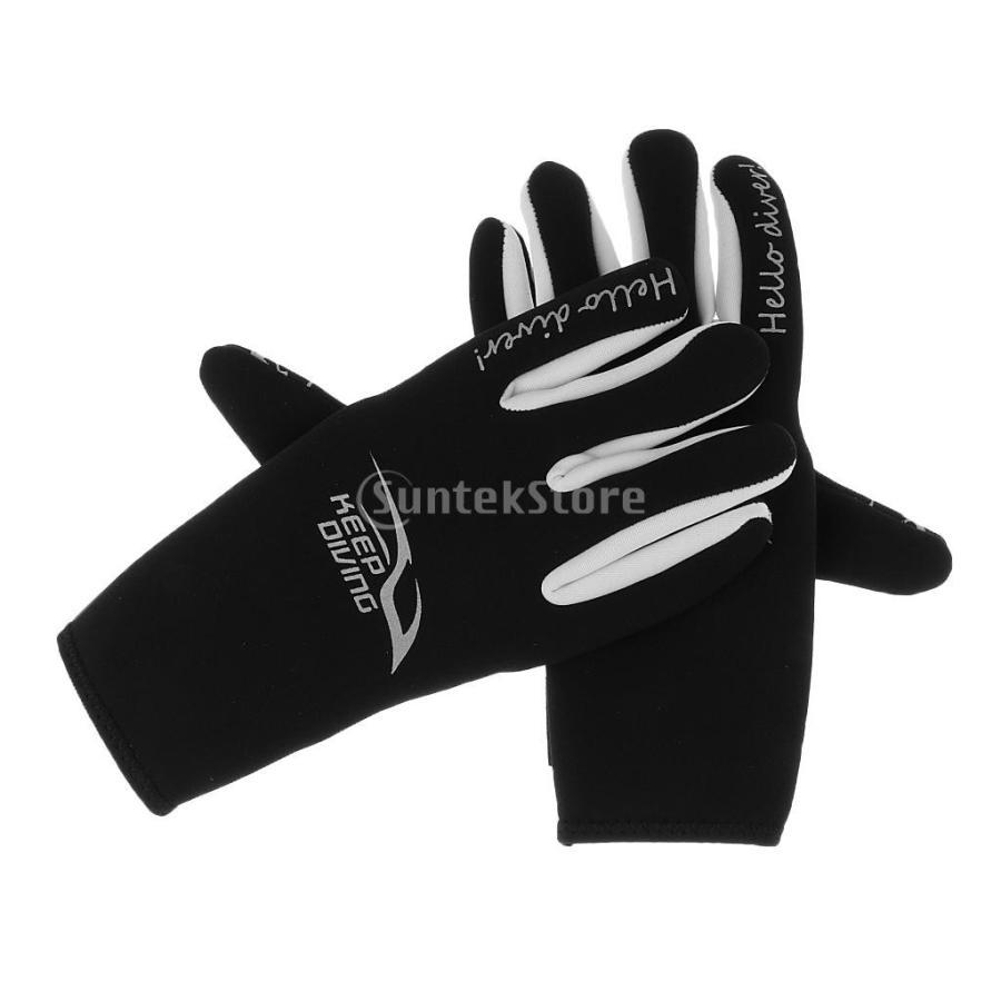 ネオプレングローブ 3mm ネオプレン 手袋 五本指 滑り止め 全3サイズ - M stk-shop