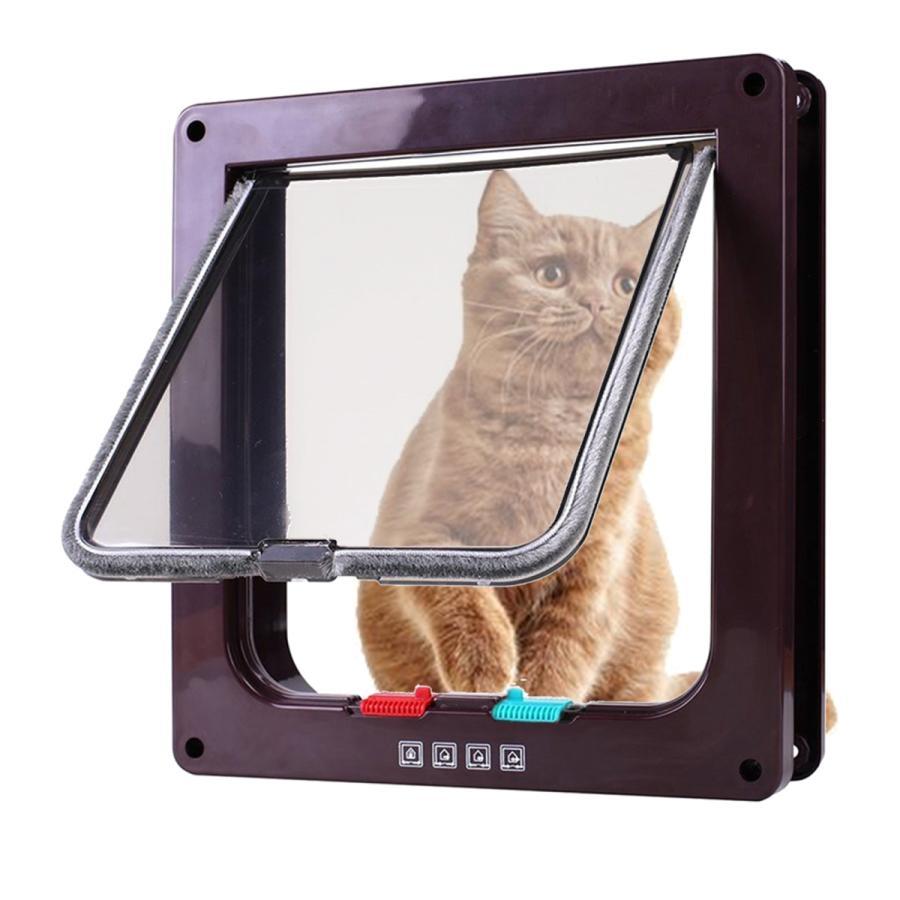 4方向ロックペットドアフレームロック可能な犬とゲート猫フラップドアコーヒーM|stk-shop