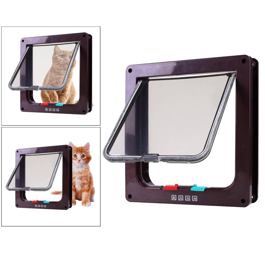 4方向ロックペットドアフレームロック可能な犬とゲート猫フラップドアコーヒーM|stk-shop|05