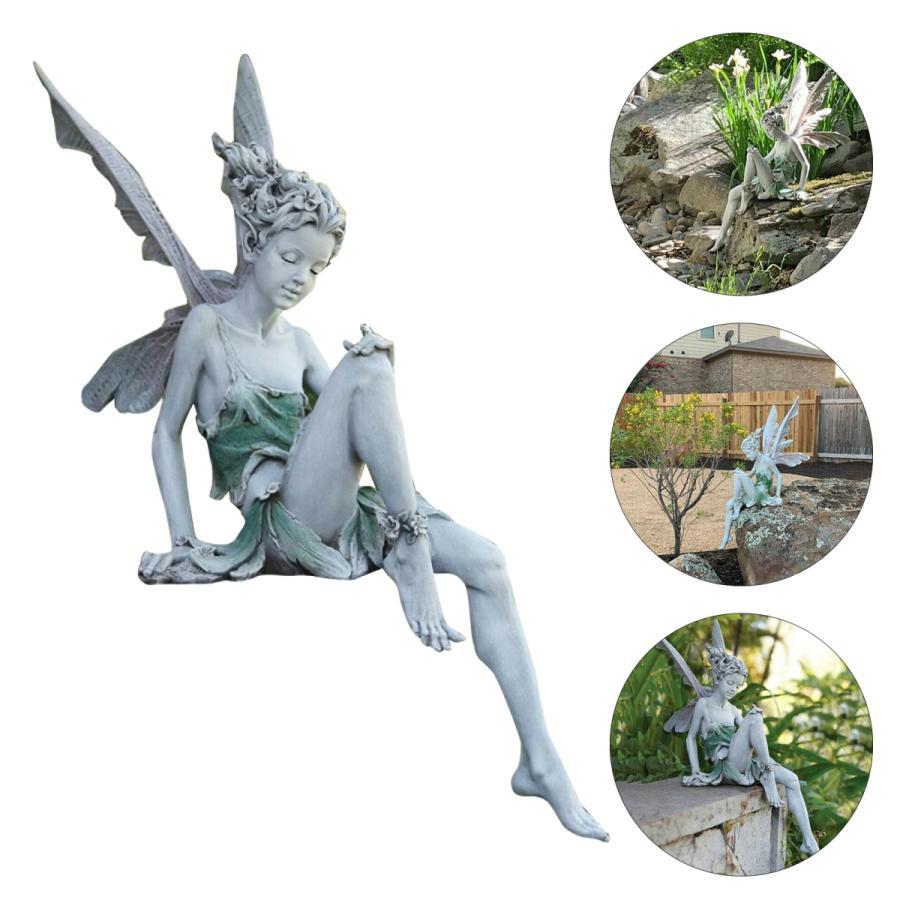 レジン妖精像噴水装飾置物ポーチエンジェルスカルプチャーホワイト 100%品質保証 付与