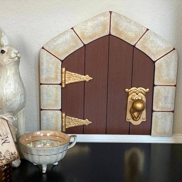 ミニ妖精ドア木庭置物彫像壁屋内屋外妖精ガーデンテラスリビングルームの装飾 格安 最新号掲載アイテム