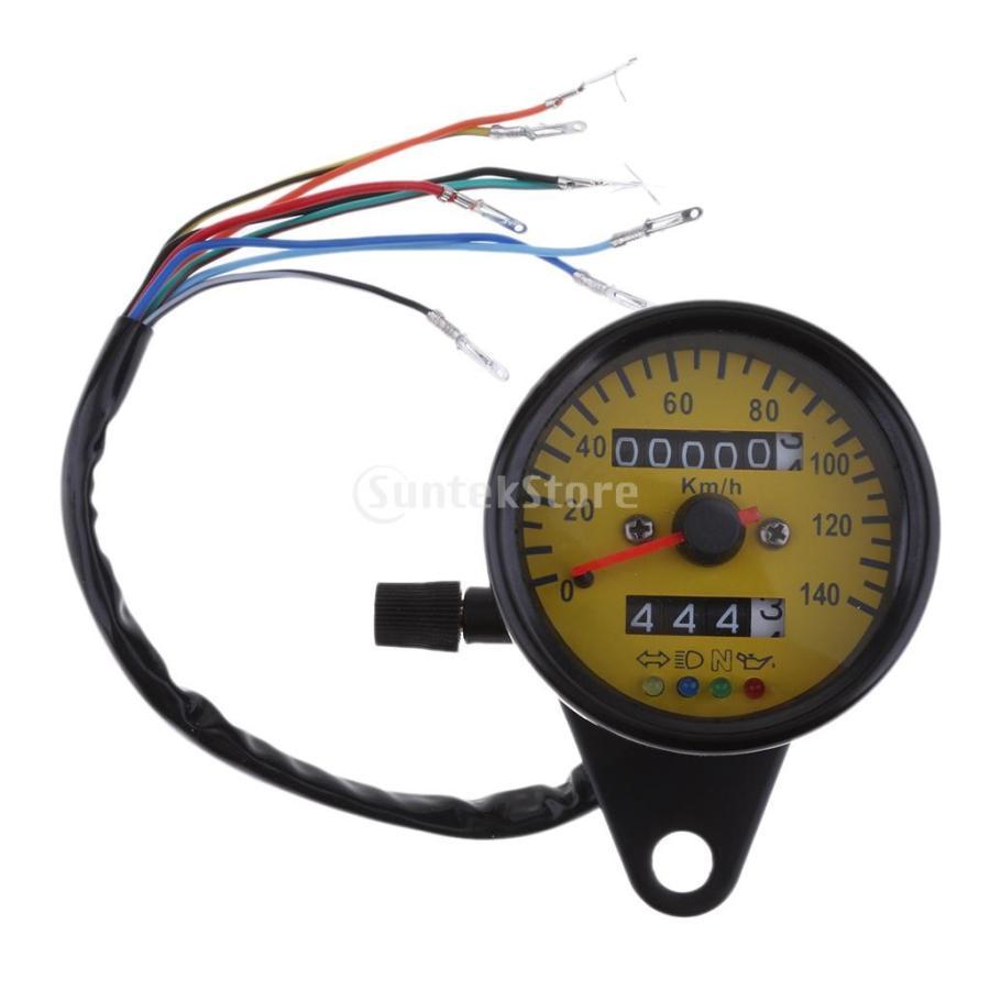 インジケータ付きオートバイ速度計 汎用 全品送料無料 12V 金属 LEDバックライト 2020モデル 高品質