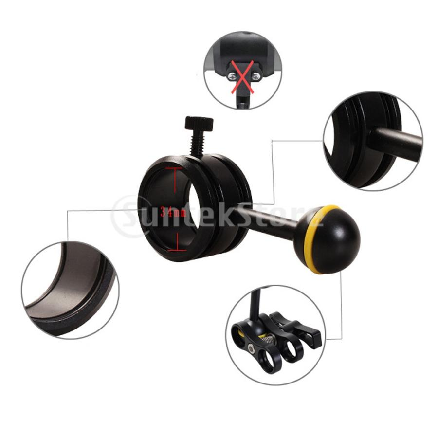 フラッシュライトホルダー ダイビング ボールジョイント アームクランプ 水中撮影 耐食性|stk-shop|06