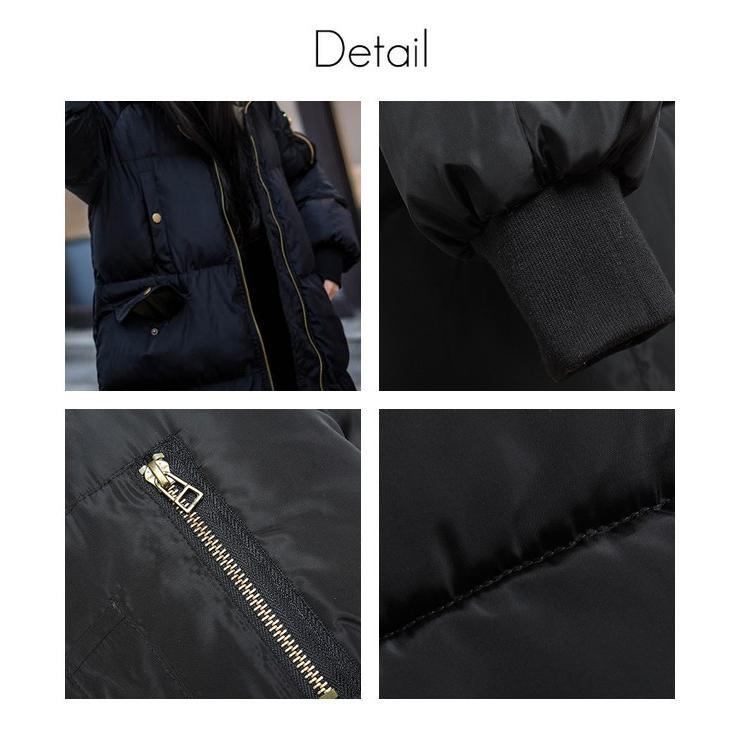 在庫処分セール  中綿コート レディース ロング フード付き ラグラン ゆったり 大きいサイズ 無地 黒 カジュアル 春 アウター ロング 短納期|store-candyz|04