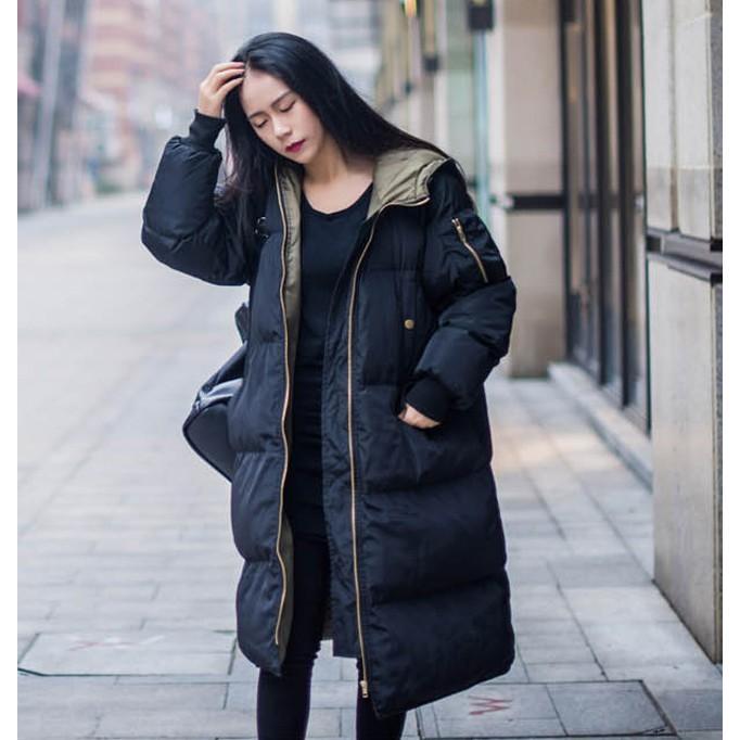 在庫処分セール  中綿コート レディース ロング フード付き ラグラン ゆったり 大きいサイズ 無地 黒 カジュアル 春 アウター ロング 短納期|store-candyz|07