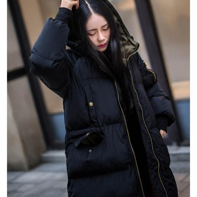 在庫処分セール  中綿コート レディース ロング フード付き ラグラン ゆったり 大きいサイズ 無地 黒 カジュアル 春 アウター ロング 短納期|store-candyz|09