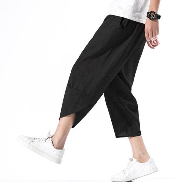 綿麻パンツ メンズ サルエルパンツ ワイド リネン 薄手 快適 カジュアル ゆったり 涼しい 冷感 薄手 メール便 送料無料|store-delight|04