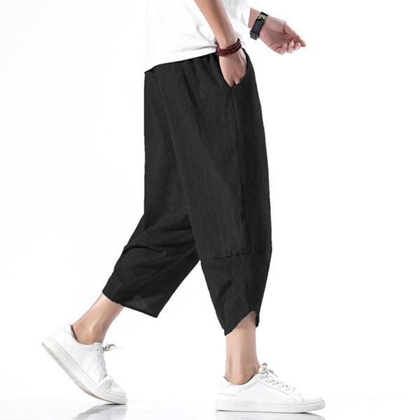 綿麻パンツ メンズ サルエルパンツ ワイド リネン 薄手 快適 カジュアル ゆったり 涼しい 冷感 薄手 メール便 送料無料|store-delight|05