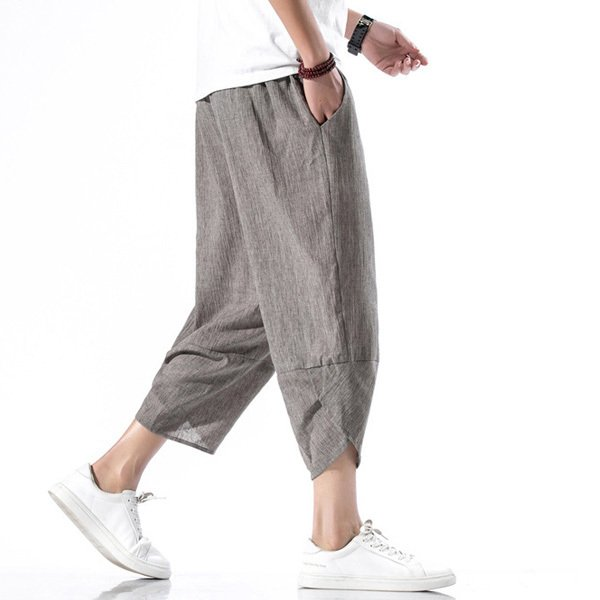 綿麻パンツ メンズ サルエルパンツ ワイド リネン 薄手 快適 カジュアル ゆったり 涼しい 冷感 薄手 メール便 送料無料|store-delight|08