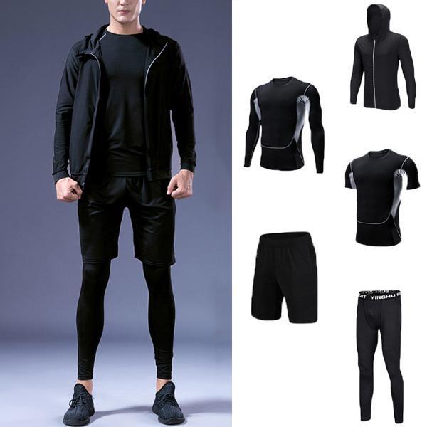 フィットネスウェア メンズ 5点セット トレーニング トップス パンツ 上下セット 吸汗速乾 機能性 ラッシュガード 運動 宅配便送料別|store-delight|02
