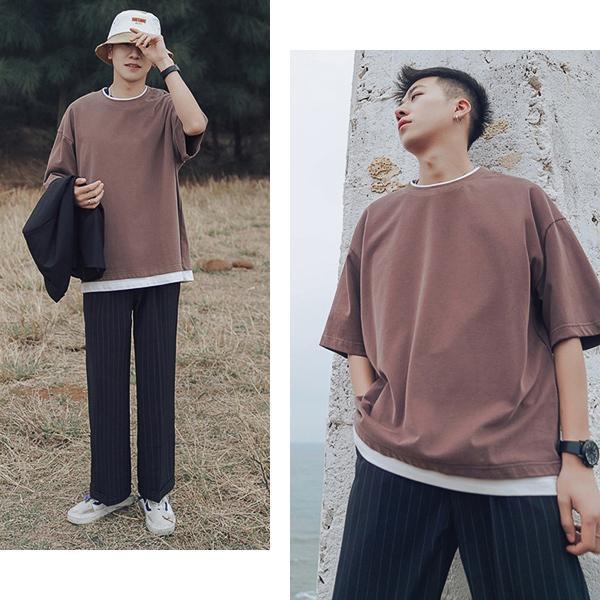 【売り尽くしSALE】tシャツ メンズ 半袖 大きいサイズ ビッグシルエット 重ね着風 フェイクレイヤード 無地 白 黒 メール便のみ送料無料2|store-delight|15