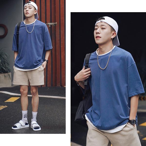 【売り尽くしSALE】tシャツ メンズ 半袖 大きいサイズ ビッグシルエット 重ね着風 フェイクレイヤード 無地 白 黒 メール便のみ送料無料2|store-delight|19