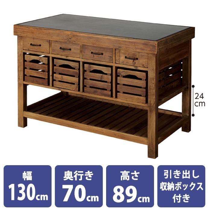 無垢古材アイランドテーブル 幅130cm ディスプレイテーブル 業務用 展示