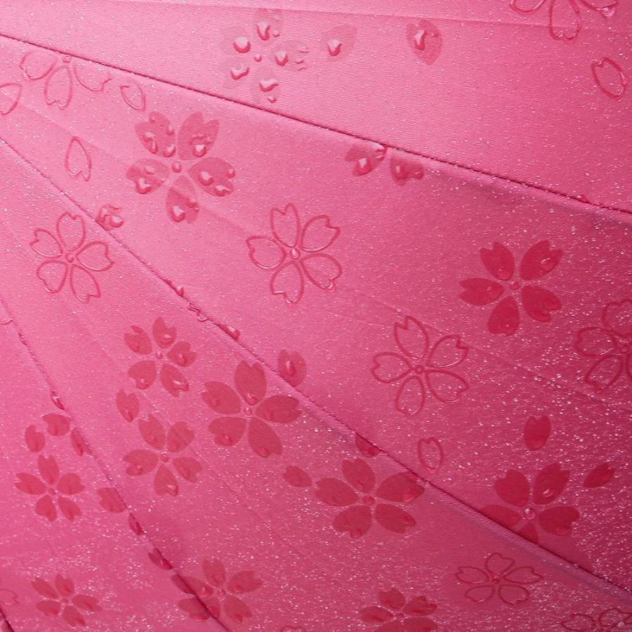 傘 レディース 長傘 ワンタッチ ジャンプ傘 大きめ 16本骨 かさ カサ 雨で桜が浮き出る傘 story-web 09
