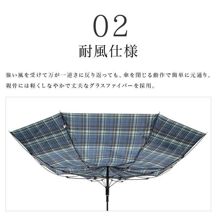傘 メンズ ワンタッチ グラスファイバー 格子柄 チェック ブラック グリーン|story-web|03