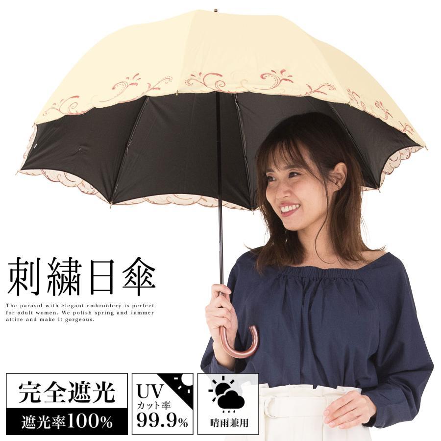 日傘 完全遮光 レディース 長傘 おしゃれ 晴雨兼用 UVカット率99.9%以上 遮光率100% 二重張り|story-web