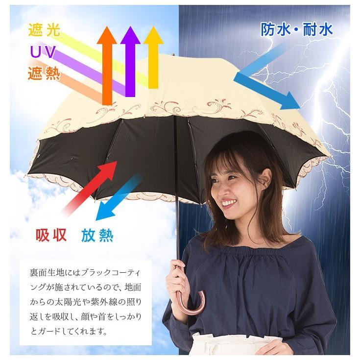日傘 完全遮光 レディース 長傘 おしゃれ 晴雨兼用 UVカット率99.9%以上 遮光率100% 二重張り|story-web|05