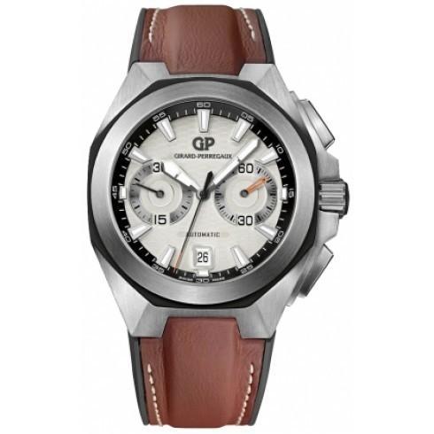 【受注生産品】 Girard Perregaux/ジラール・ペルゴ メンズ 腕時計 Chrono Hawk シルバー Dial ブラウン 革 自動巻き メンズ Watch 49970-11-131-HDBA, ネームインポエムWILLBE 23e93c68