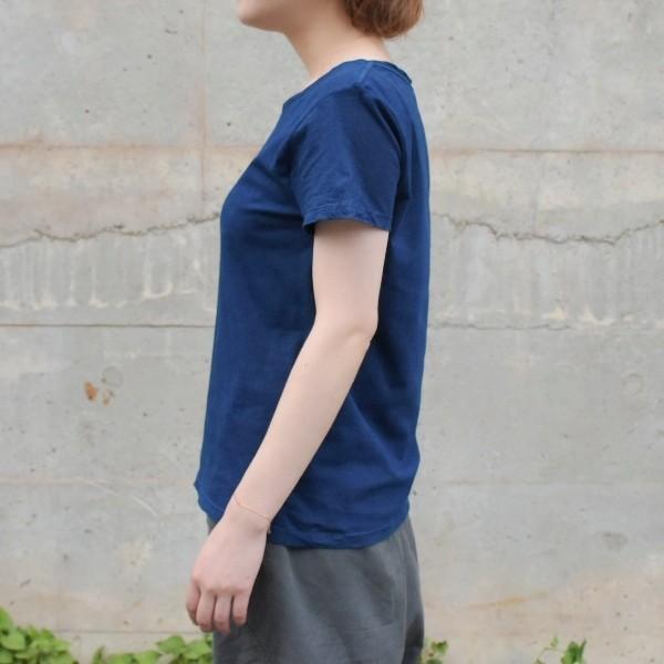 レディース 藍染め 半袖 Tシャツ 薄手 着心地良い カットソー studio-ichi 02