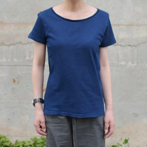 レディース 藍染め 半袖 Tシャツ 薄手 着心地良い カットソー studio-ichi 03