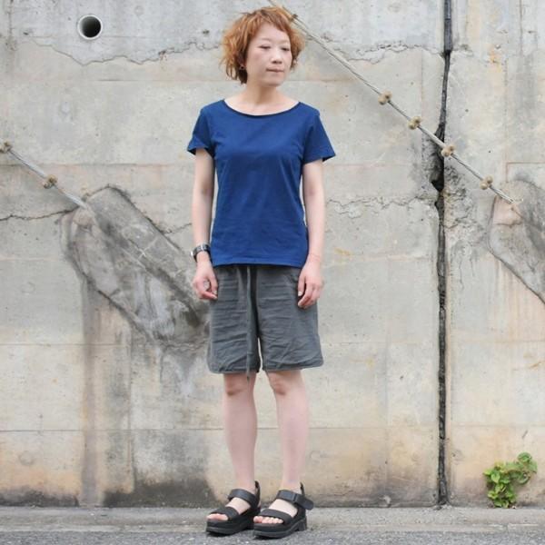 レディース 藍染め 半袖 Tシャツ 薄手 着心地良い カットソー studio-ichi 05