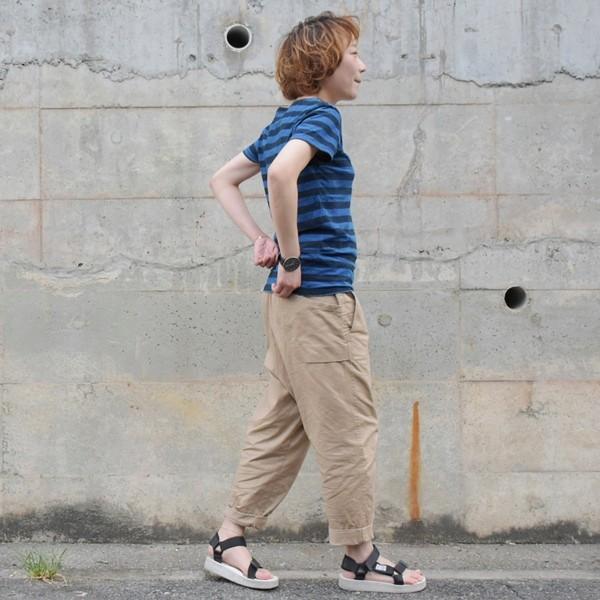 レディース 藍染め ボーダー Tシャツ 半袖 可愛い|studio-ichi|02