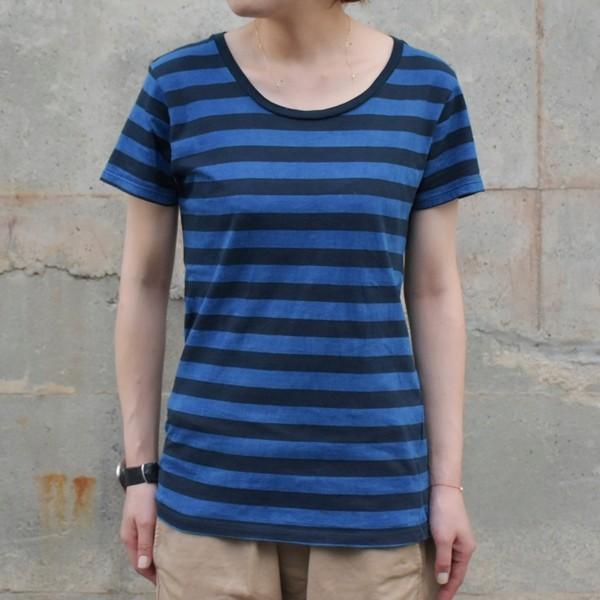 レディース 藍染め ボーダー Tシャツ 半袖 可愛い|studio-ichi|03