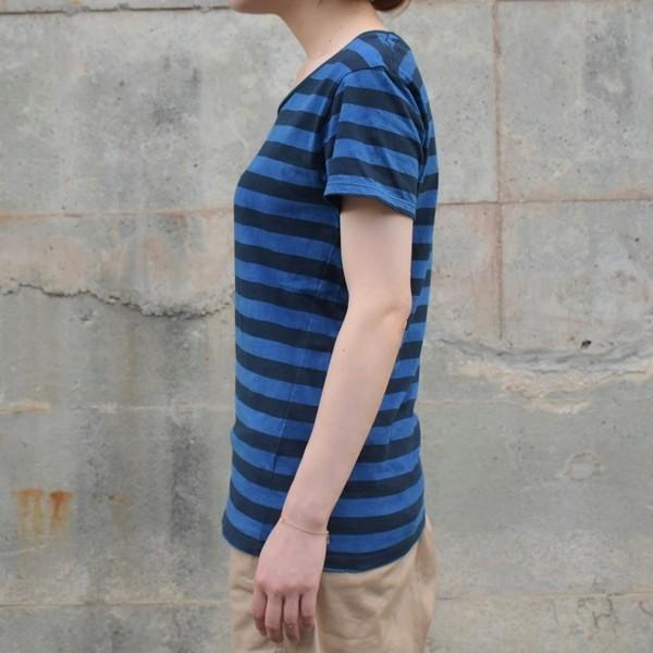 レディース 藍染め ボーダー Tシャツ 半袖 可愛い|studio-ichi|04