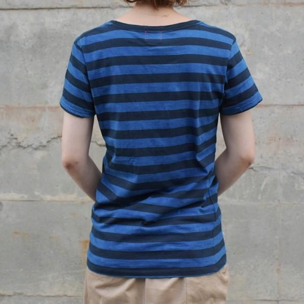 レディース 藍染め ボーダー Tシャツ 半袖 可愛い|studio-ichi|05