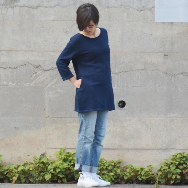 琉球藍染め スウェット ワンピース ミニ 裏毛 ふんわり 柔らかい可愛い チュニック|studio-ichi|02