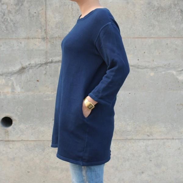琉球藍染め スウェット ワンピース ミニ 裏毛 ふんわり 柔らかい可愛い チュニック|studio-ichi|04