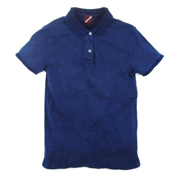 レディース 藍染め 半袖 ポロシャツ コットン インディゴ ギフト|studio-ichi|05
