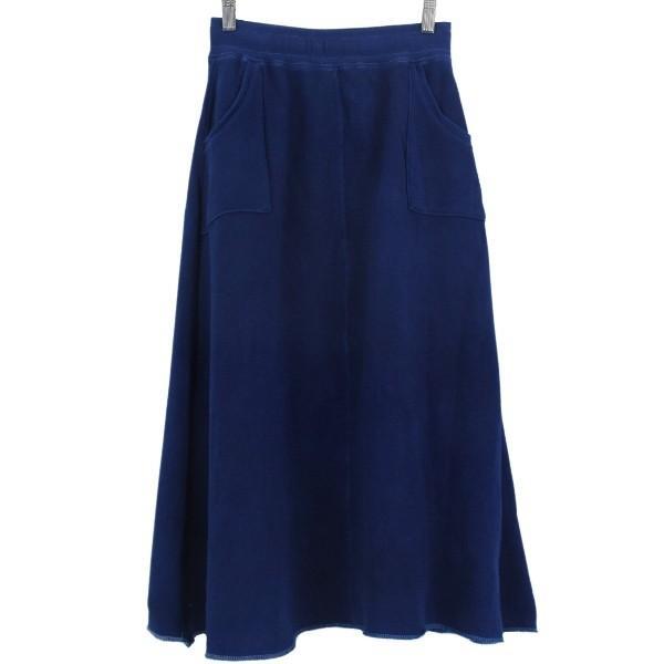 藍染め スウェット マキシスカート ロング ふんわり 暖かい 裏毛|studio-ichi|03