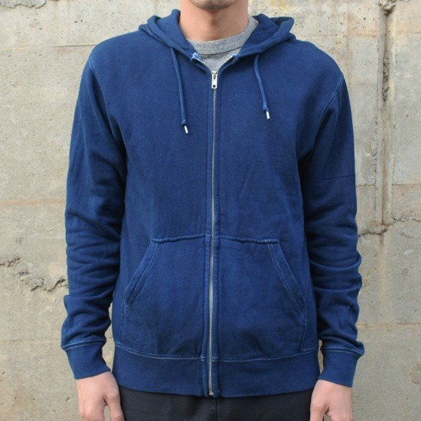 藍染め ジップパーカー スウェット 琉球藍染め メンズ トレーナー|studio-ichi|02