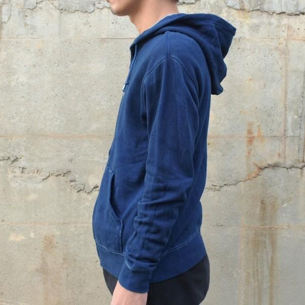 藍染め ジップパーカー スウェット 琉球藍染め メンズ トレーナー|studio-ichi|03