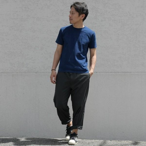 Tシャツ 半袖 コットン 綿 しっかり 藍染め 琉球藍染め メンズ カットソー studio-ichi 05