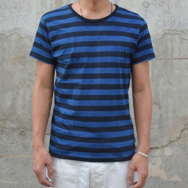 藍染め Tシャツ 半袖 ボーダー 琉球藍染め メンズ|studio-ichi|02