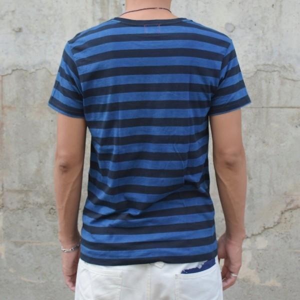 藍染め Tシャツ 半袖 ボーダー 琉球藍染め メンズ|studio-ichi|04