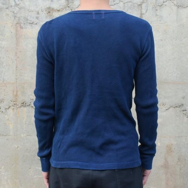 メンズ 藍染め サーマル ロンT ワッフル 長袖 ヘビーウェイト 男性 スリム|studio-ichi|04