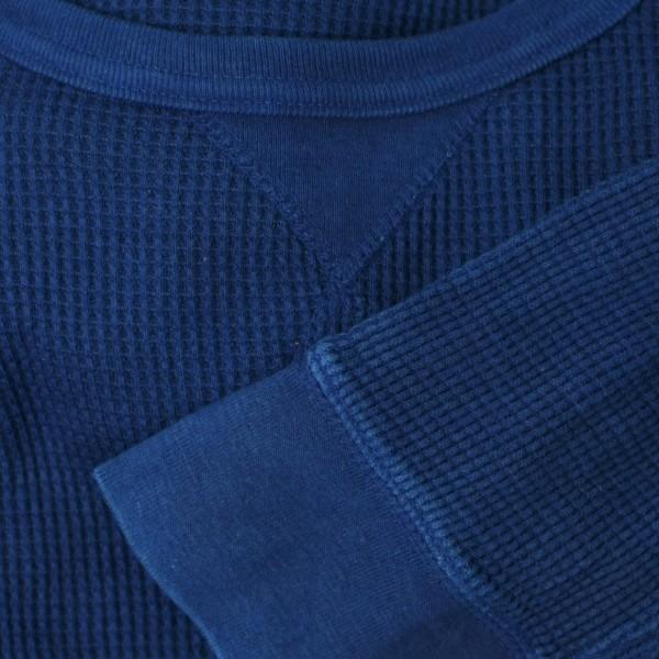 メンズ 藍染め サーマル ロンT ワッフル 長袖 ヘビーウェイト 男性 スリム|studio-ichi|05