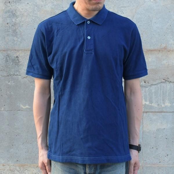 藍染 ポロシャツ 半袖 琉球藍染め メンズ コットン インディゴ 紺色 プレゼント ギフト|studio-ichi|02
