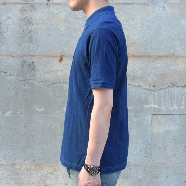 藍染 ポロシャツ 半袖 琉球藍染め メンズ コットン インディゴ 紺色 プレゼント ギフト|studio-ichi|03