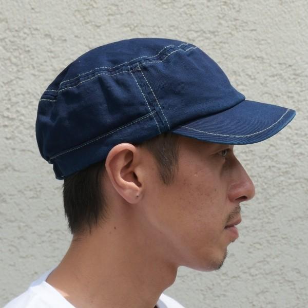 藍染め ワークキャップ インディゴ CAP 帽子 ミリタリー プレゼント ギフト ネイビー キャップ|studio-ichi|02