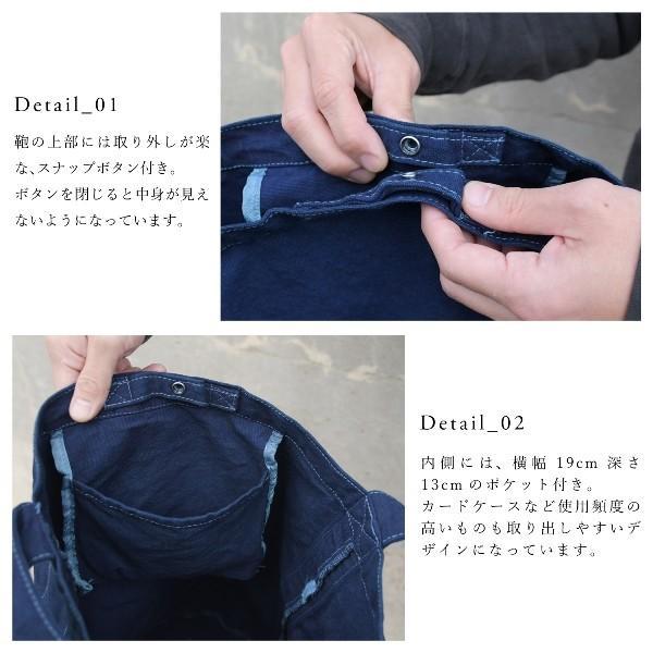 藍染め キャンバス バケット バッグ トートバッグ ワンショルダーバッグ 円柱 筒型|studio-ichi|02