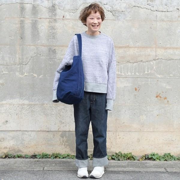 藍染め キャンバス バケット バッグ トートバッグ ワンショルダーバッグ 円柱 筒型|studio-ichi|03